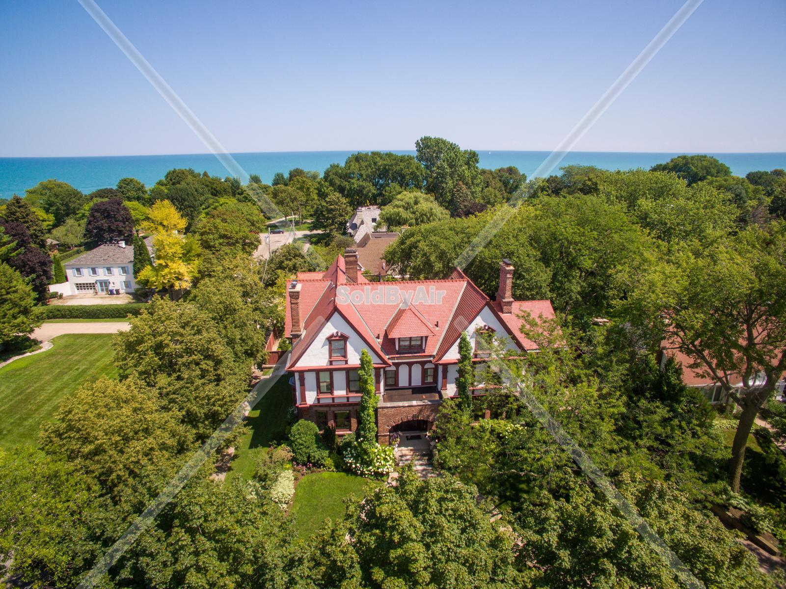 Drone Photo of Evanston, IL home near the shores of Lake Michigan in Evanston Illinois