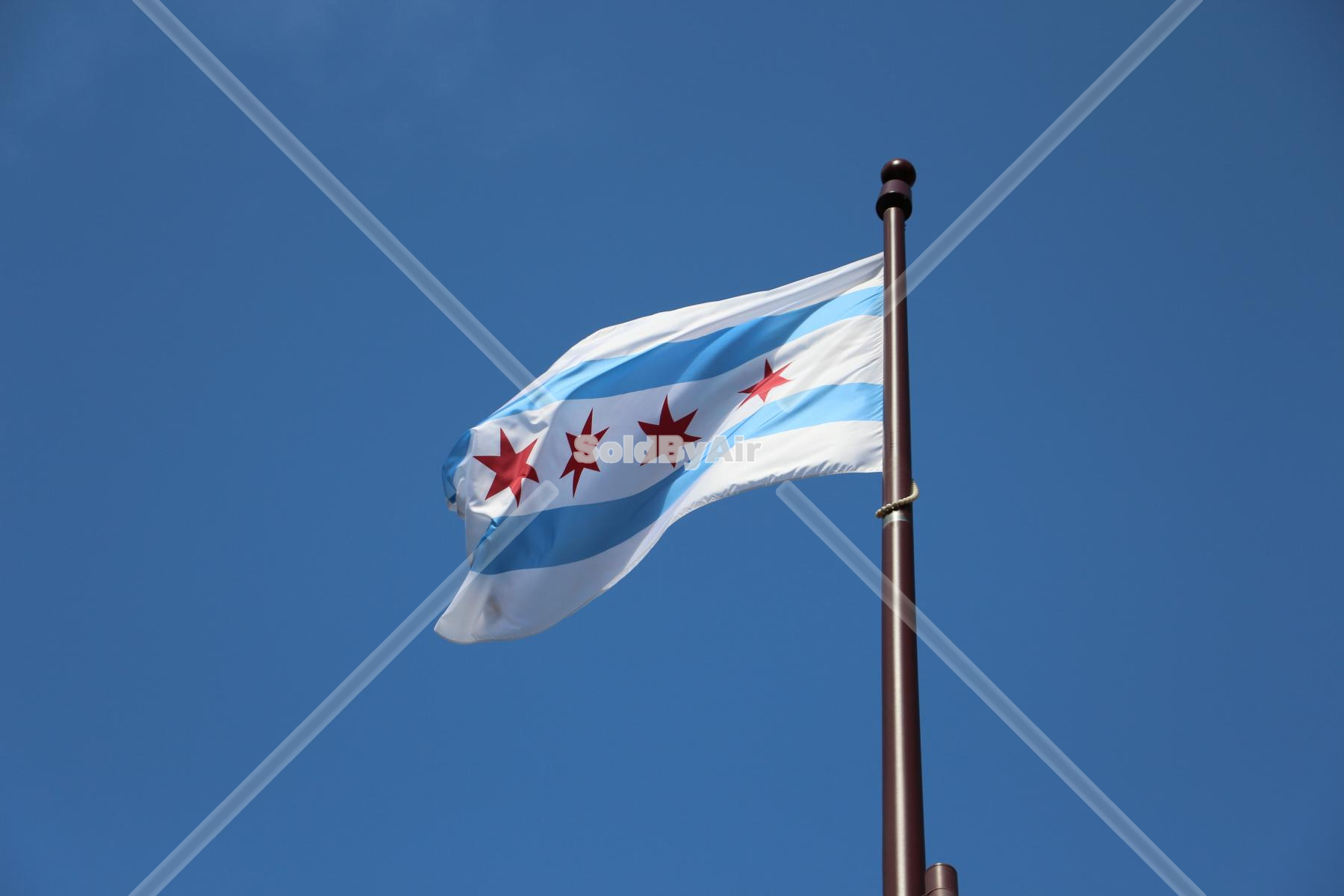 Drone Photo of Flag of the City of Chicago in Chicago Illinois