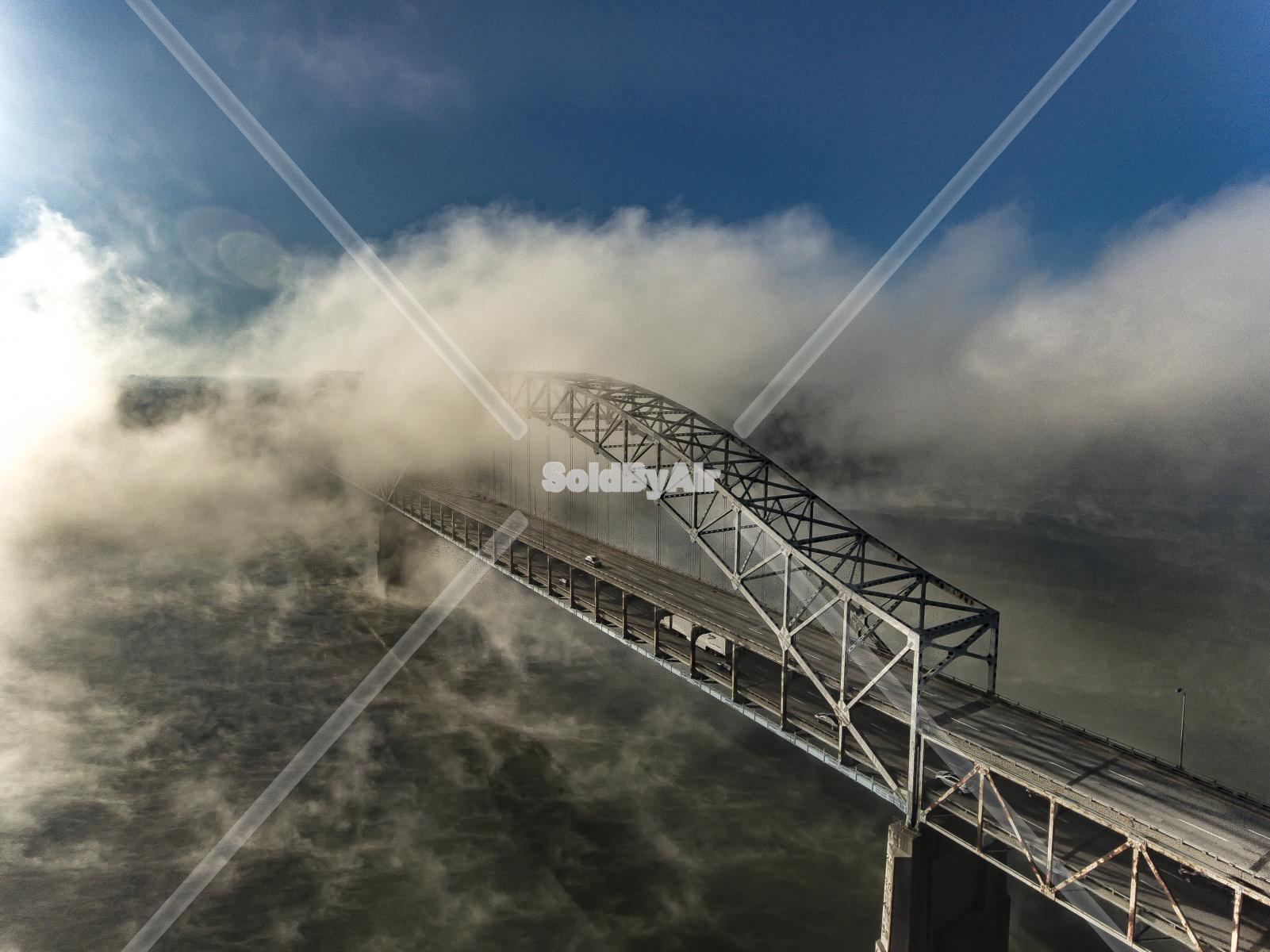Drone Photo of Fog on the Ohio river at the Sherman Minton bridge in Louisville Kentucky