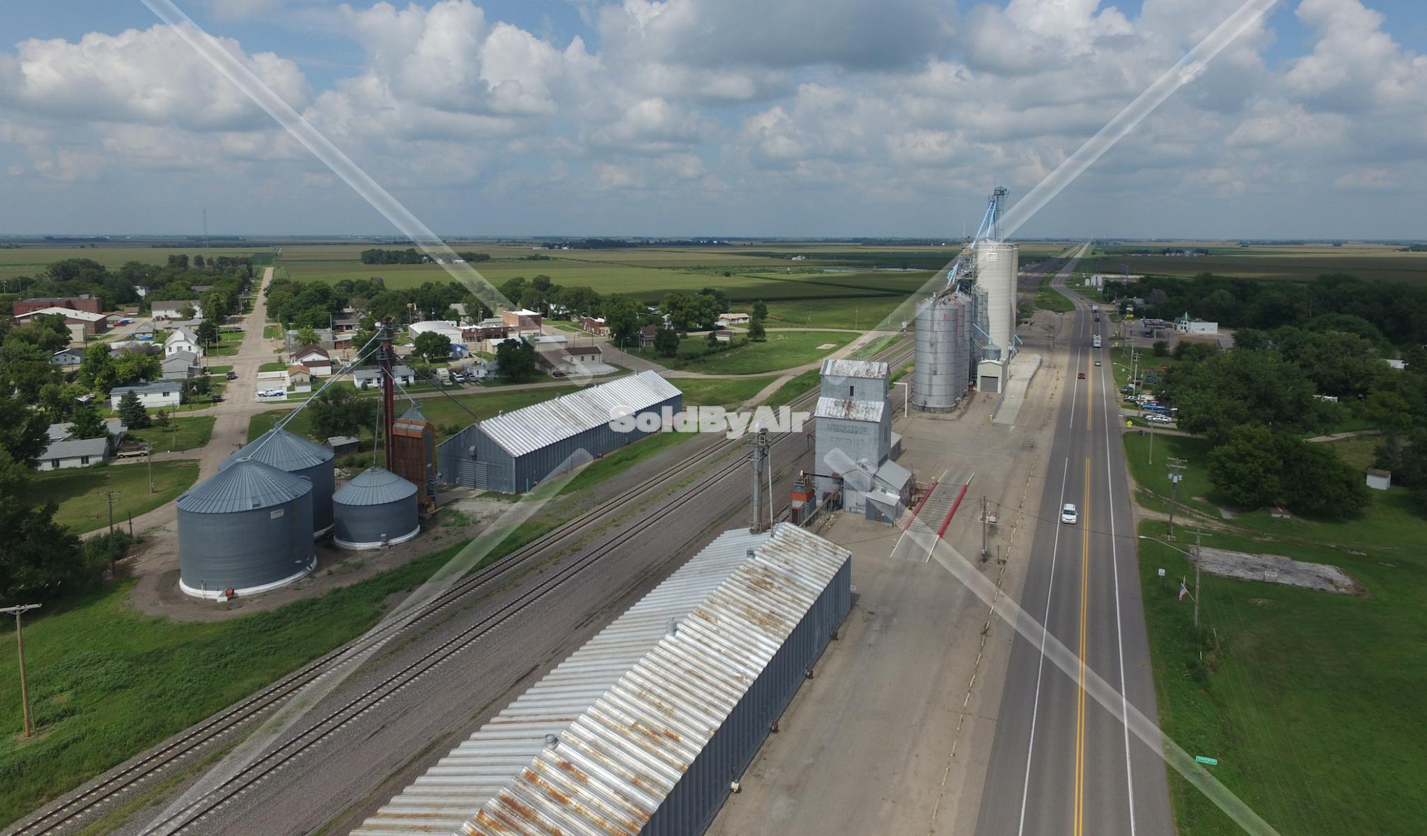 Drone Photo of Grain elevators along Lincoln Highway in Central City Nebraska