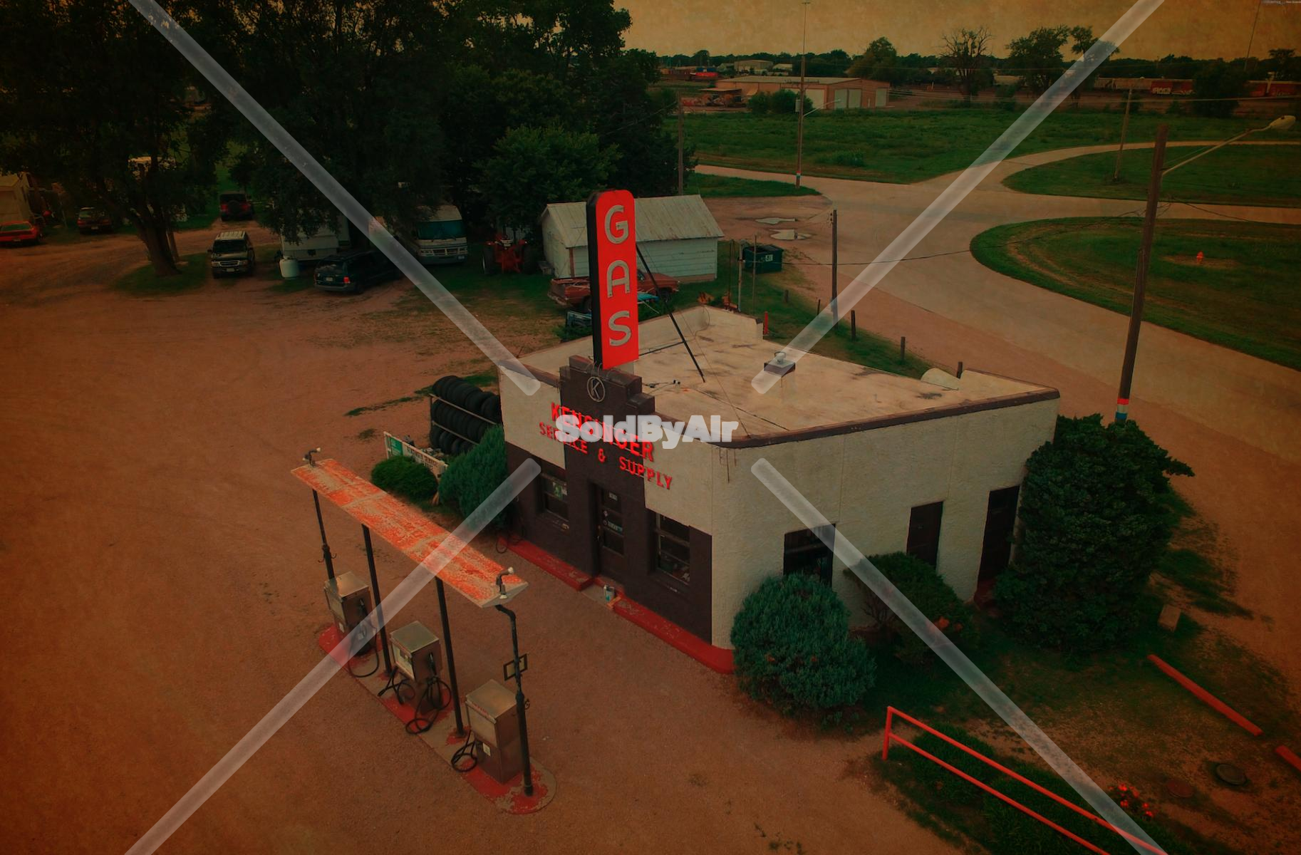 Drone Photo of Historic gas station along Lincoln Highway in Grand Island Nebraska