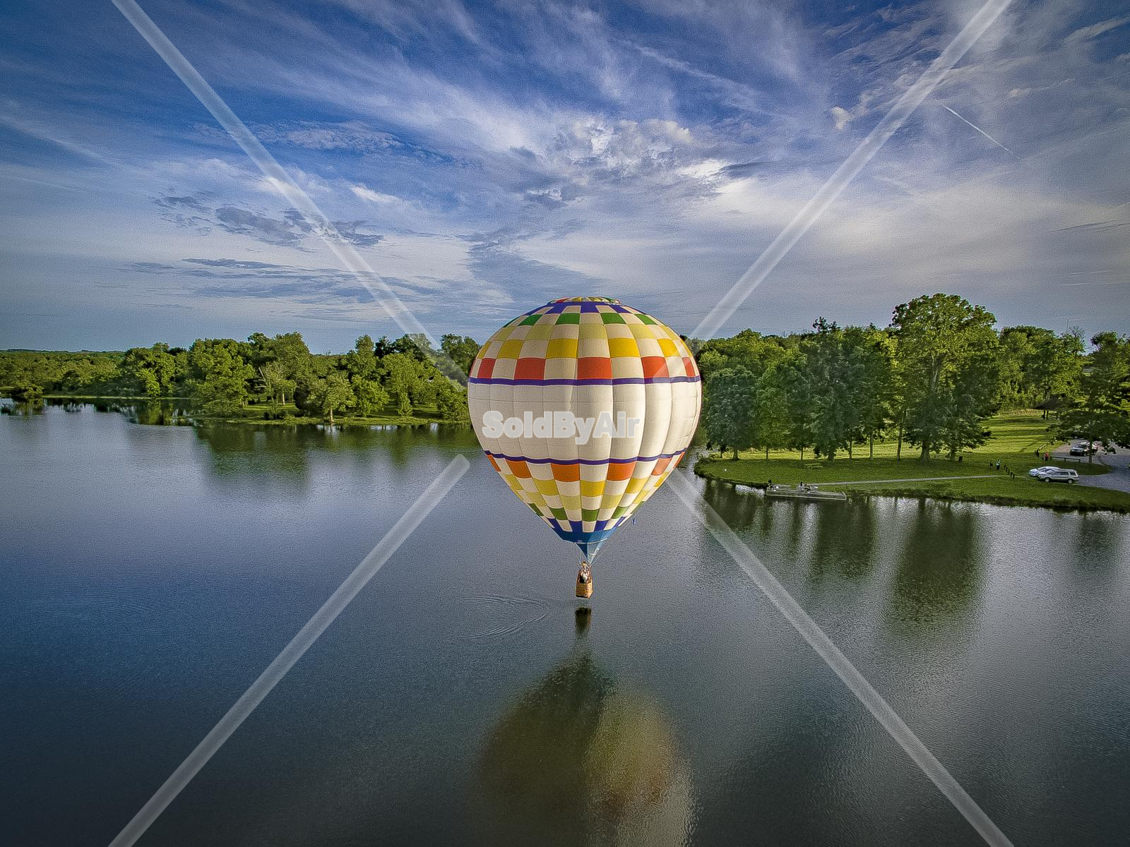 Drone Photo of Hot Air Balloon over lake in Louisville Kentucky