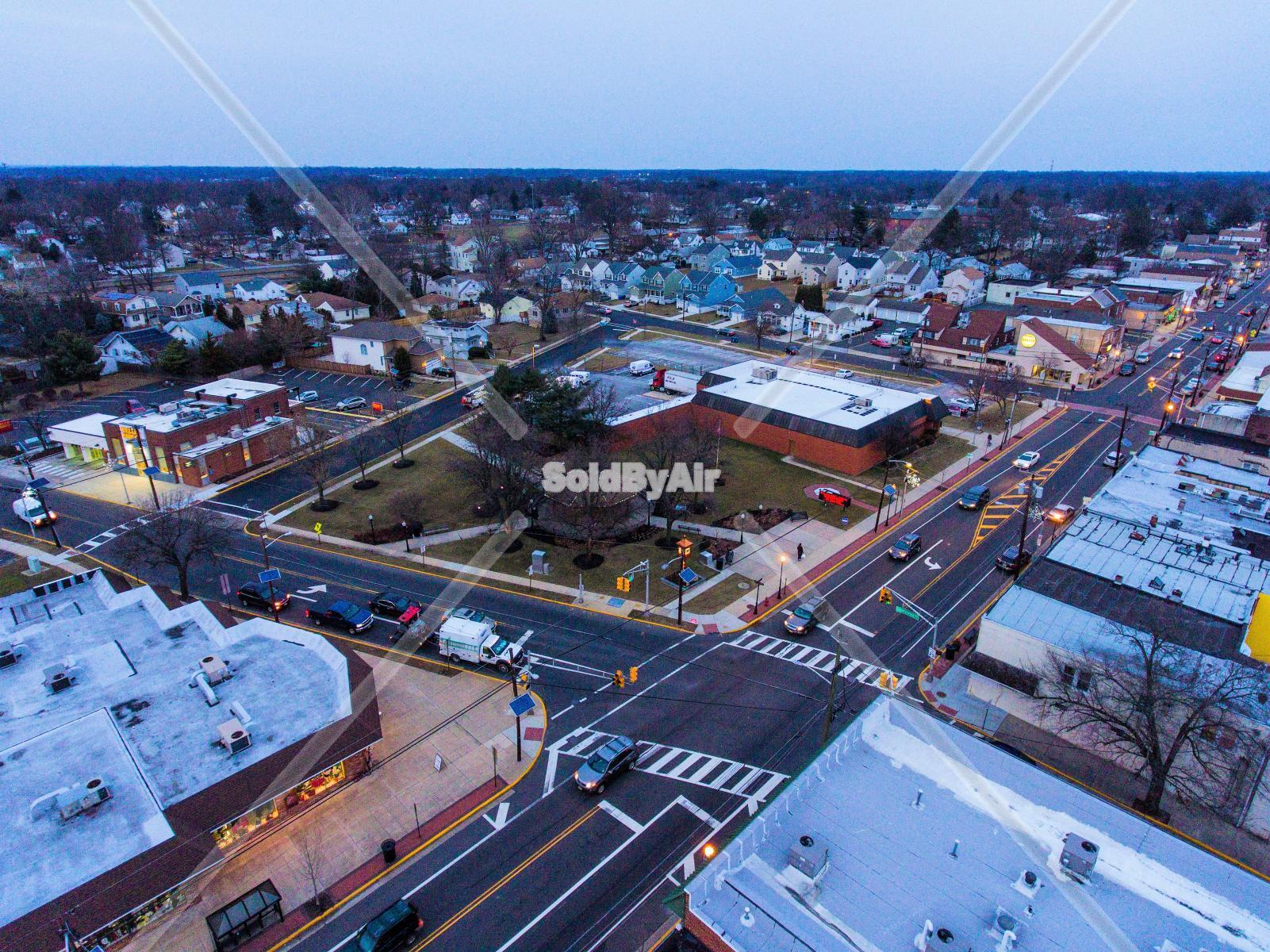 Drone Photo of Maple Shade Main street and Forklanding  in Maple Shade Township New Jersey