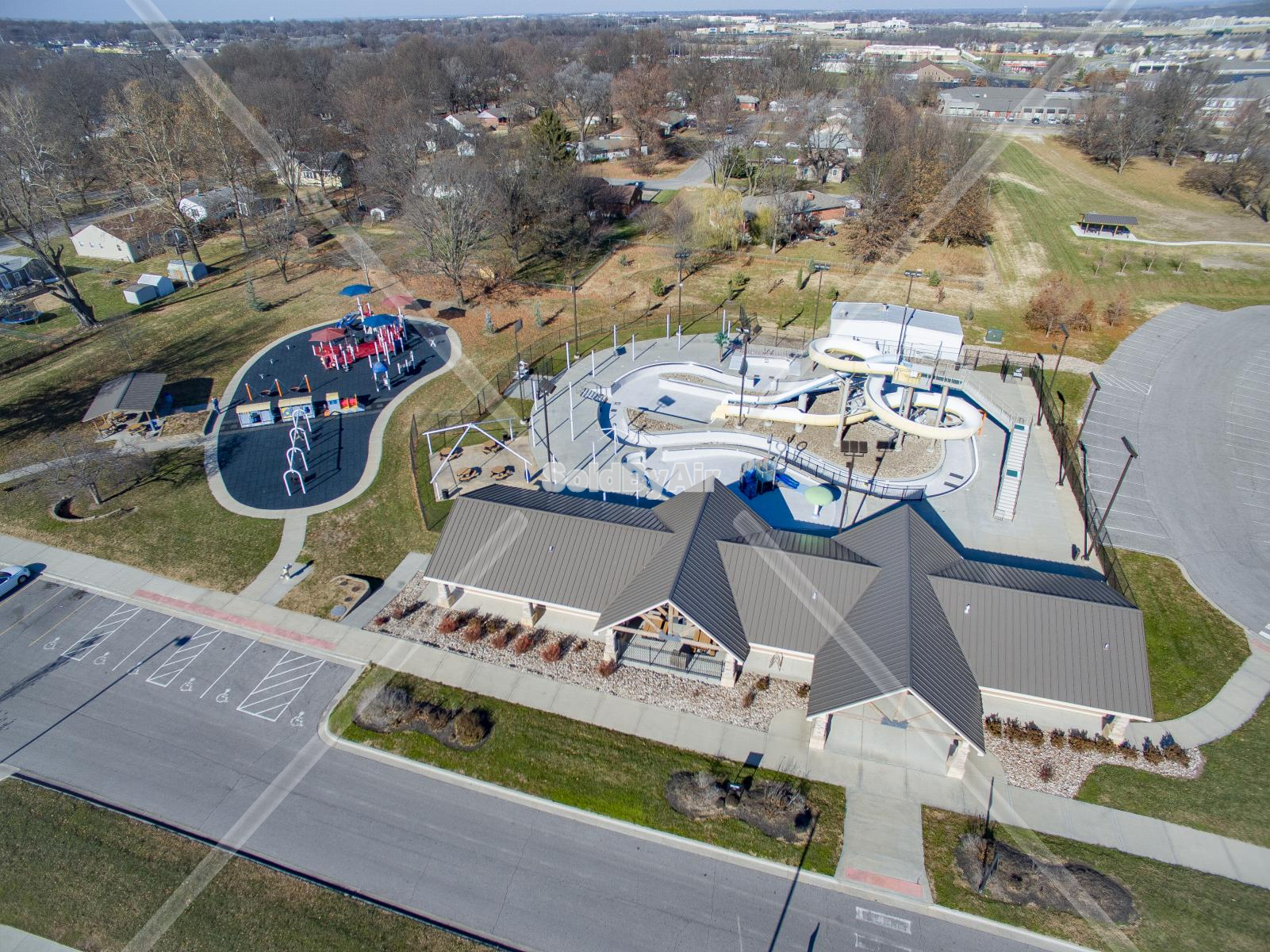 Drone Photo of Memorial Park pool in Belton Missouri