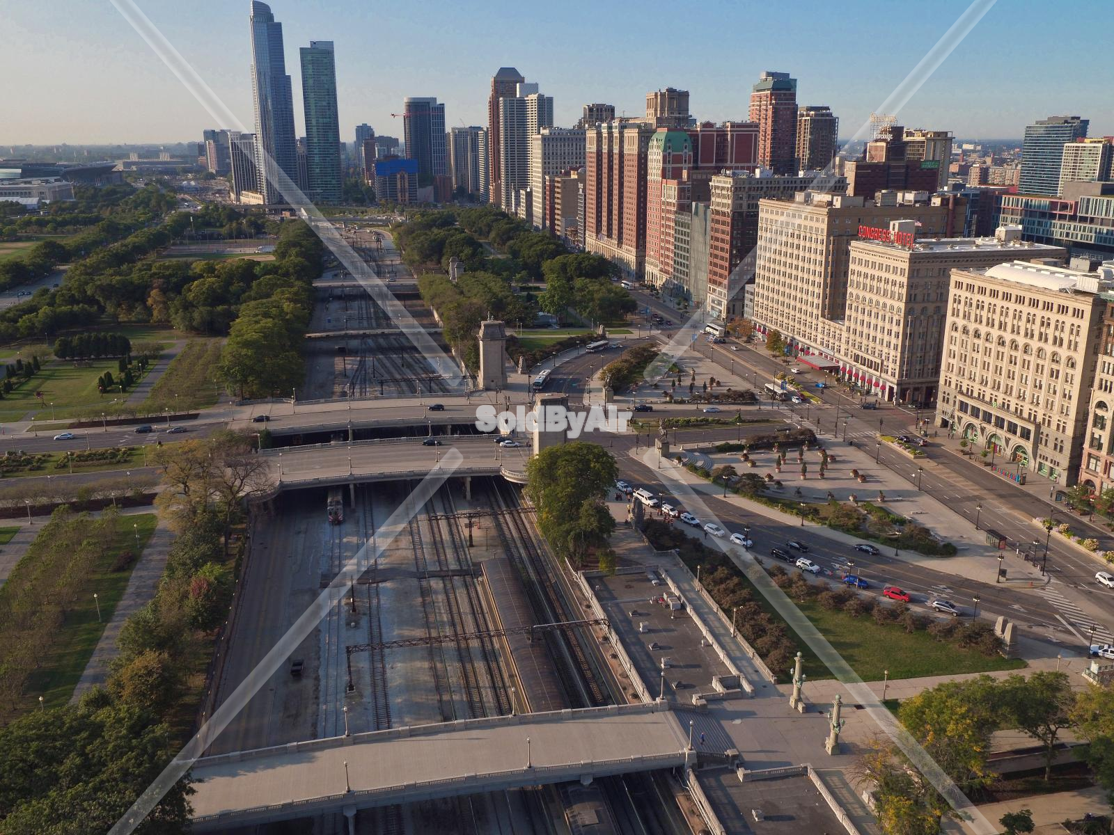 Drone Photo of Michigan Av & Grant Park & South Loop in Chicago Illinois