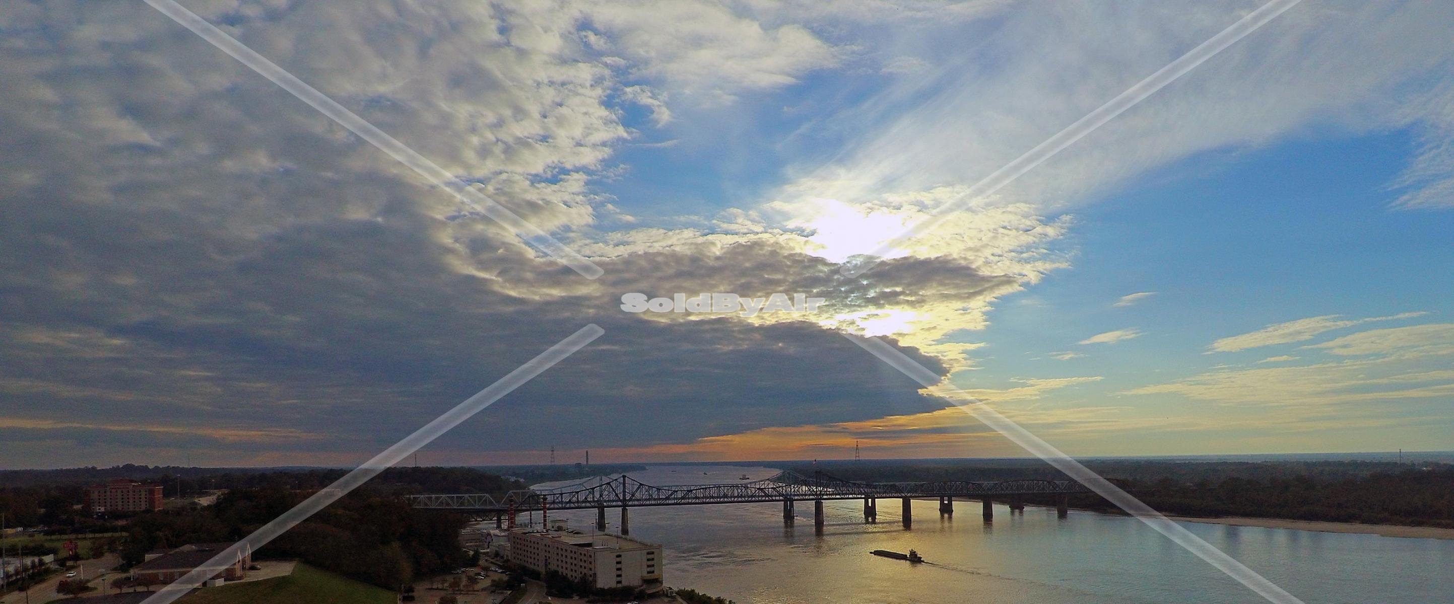 Drone Photo of Mississippi River in Vicksburg Mississippi