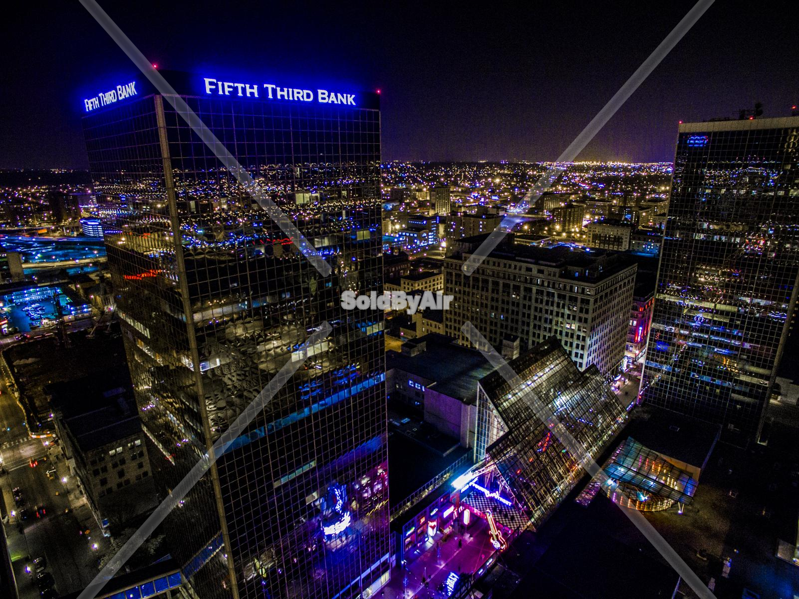 Drone Photo of Night shot of dowtown Louisville KY in Louisville Kentucky