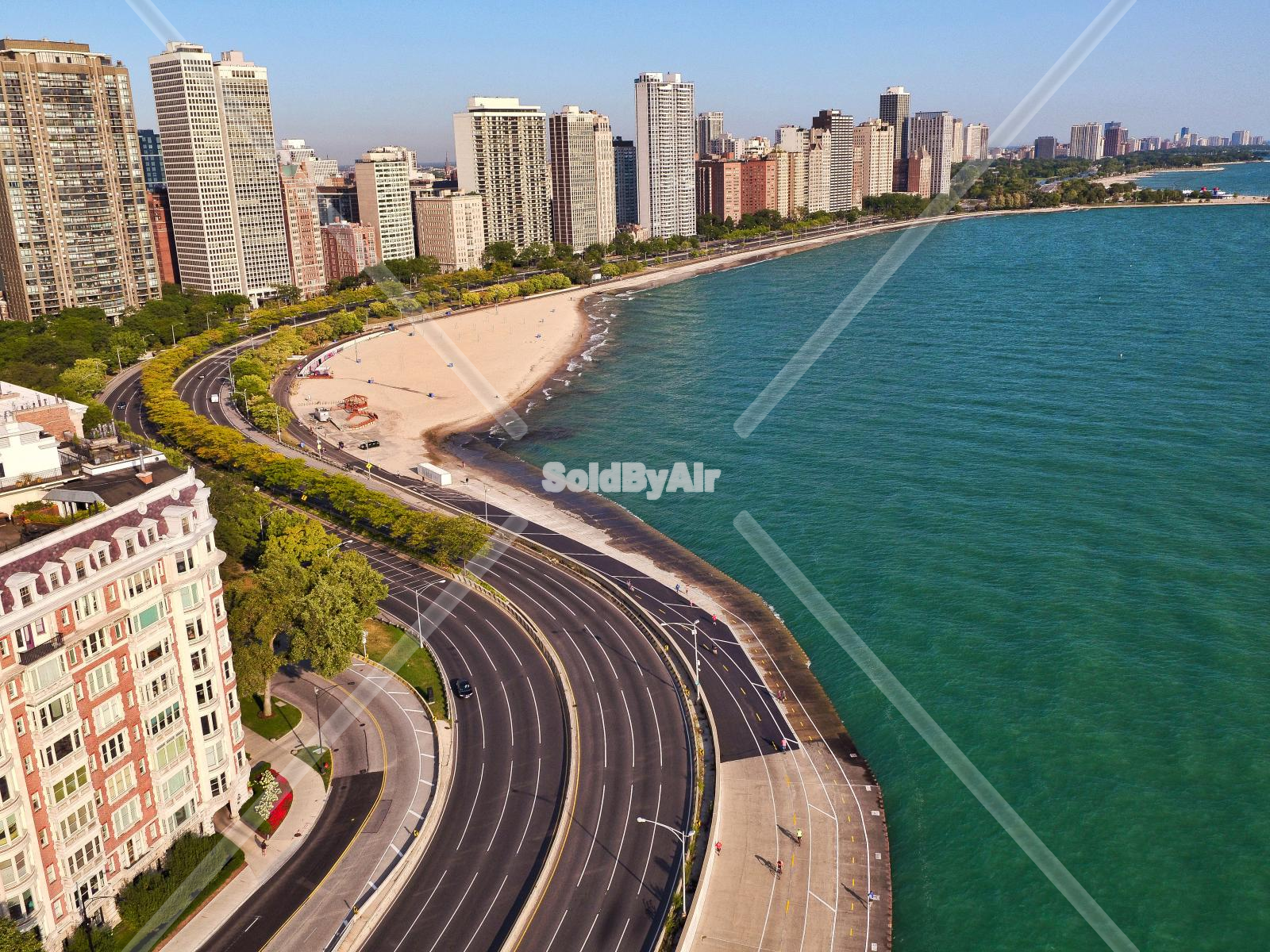 Drone Photo of Oak Street Beach in Chicago Illinois