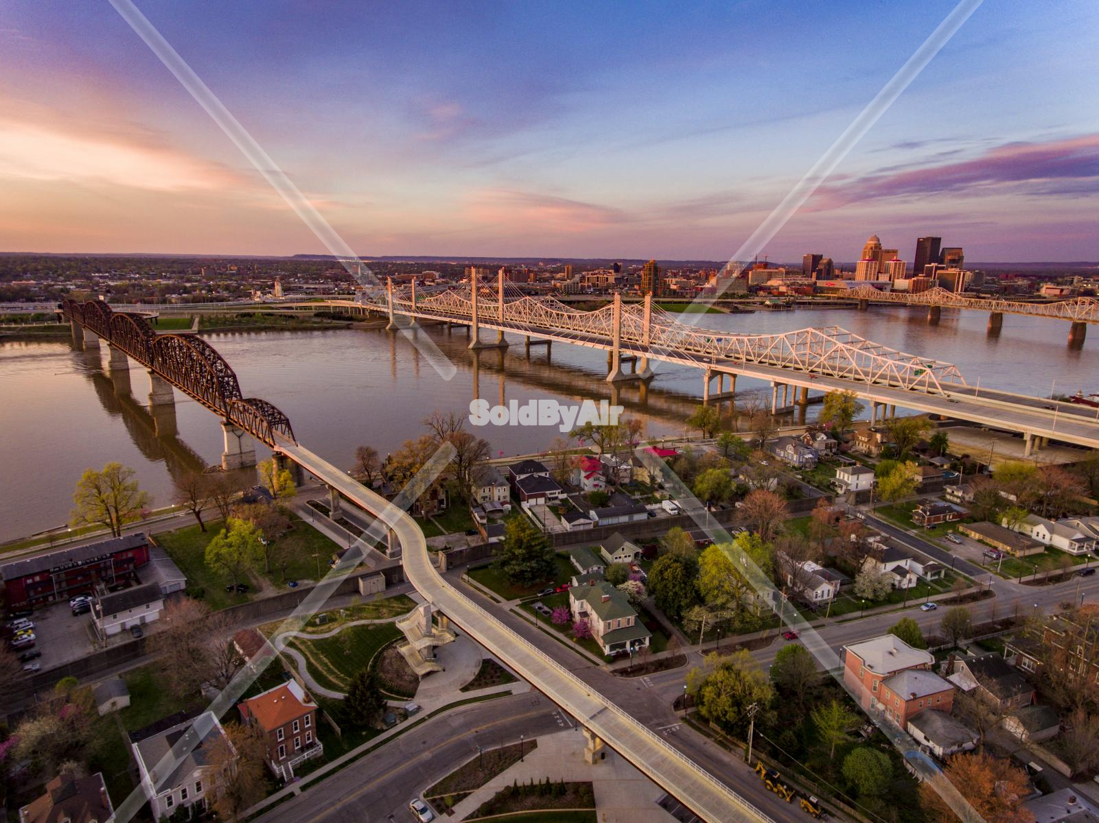 Drone Photo of Ohio river at the bridges towards Louisville,KY in Jeffersonville Indiana