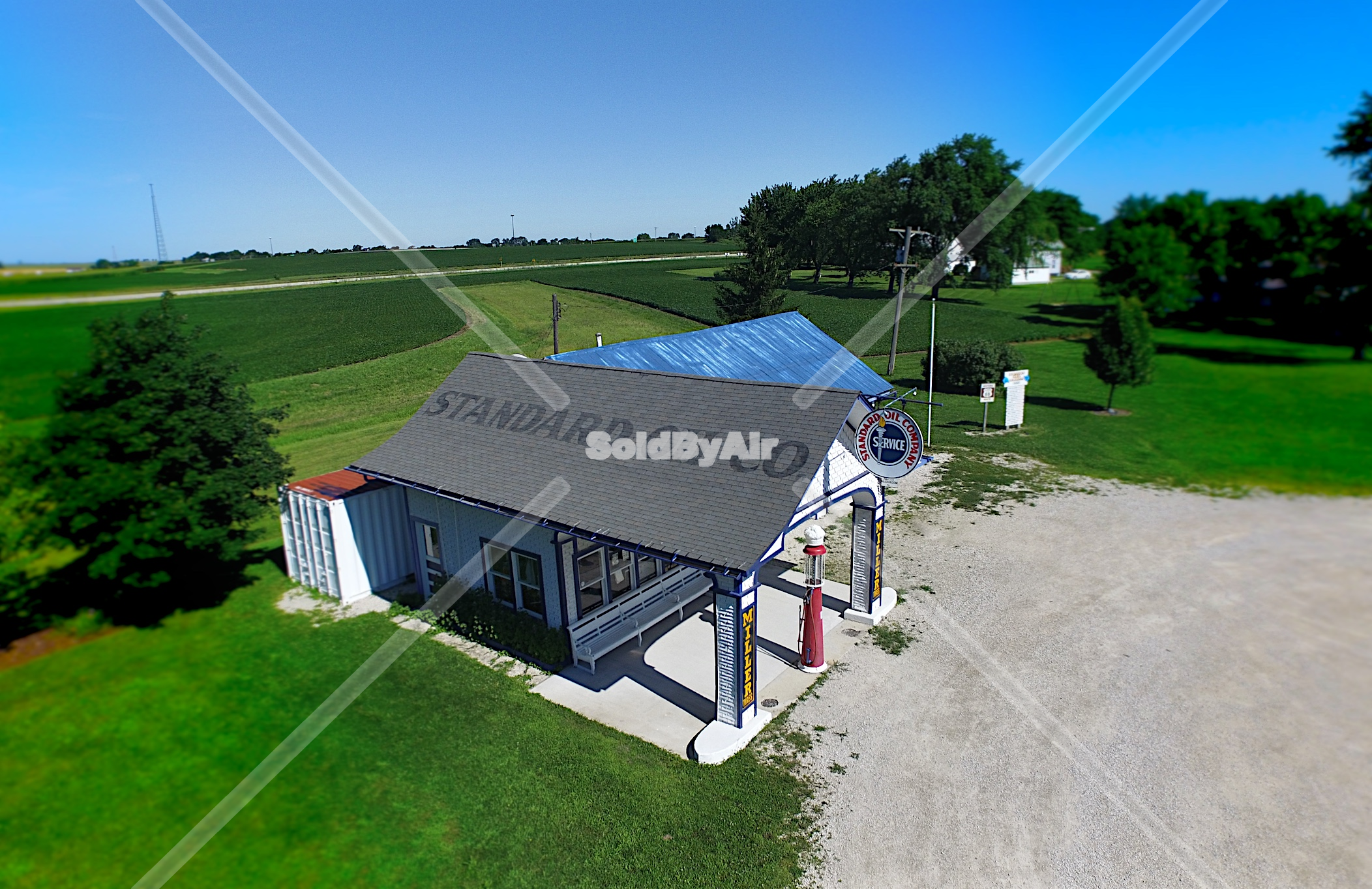 Drone Photo of Old gas station on Route 66 in Odell Illinois