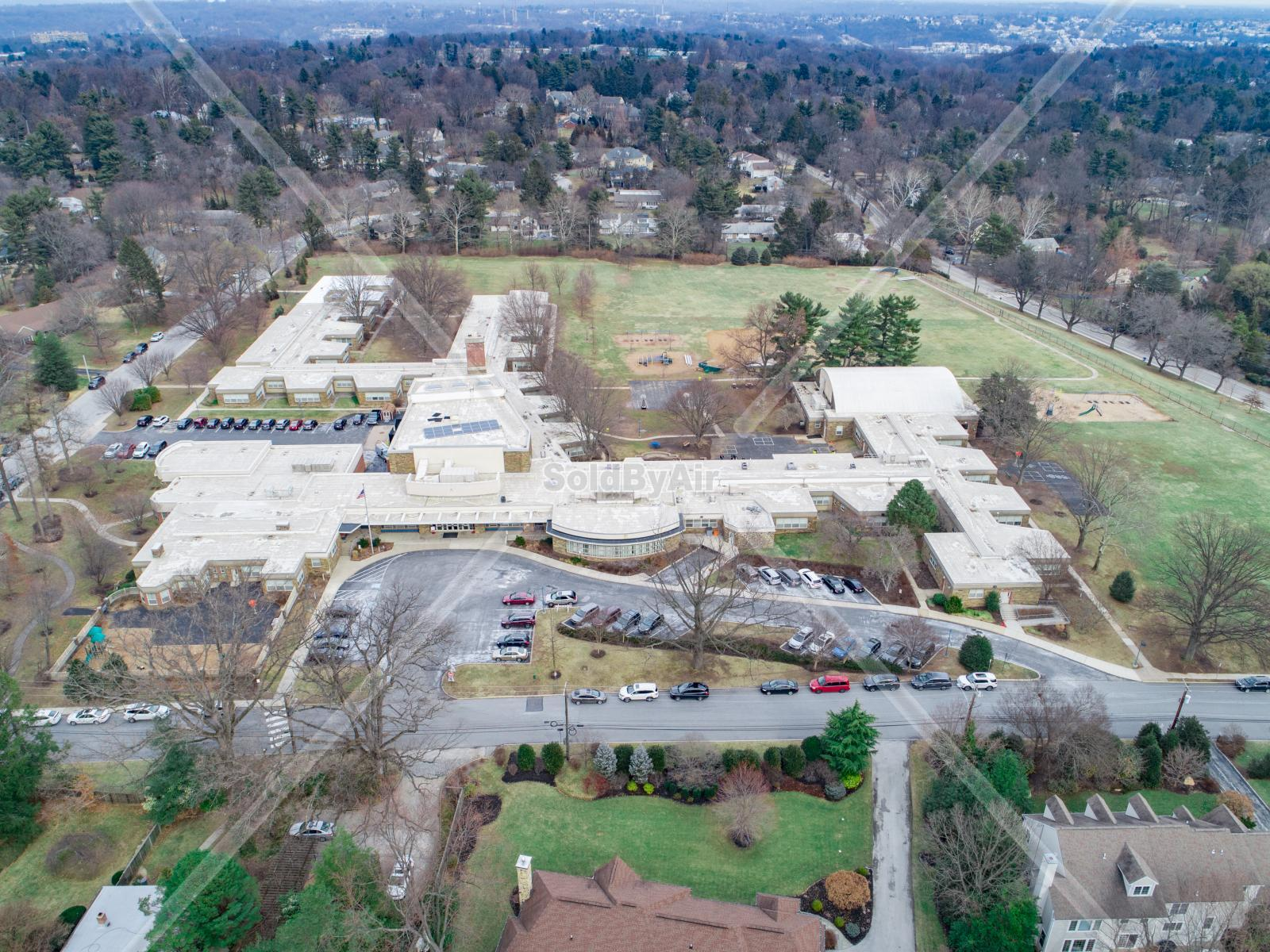 Drone Photo of Penn Valley Elementary School in Wynnewood Pennsylvania