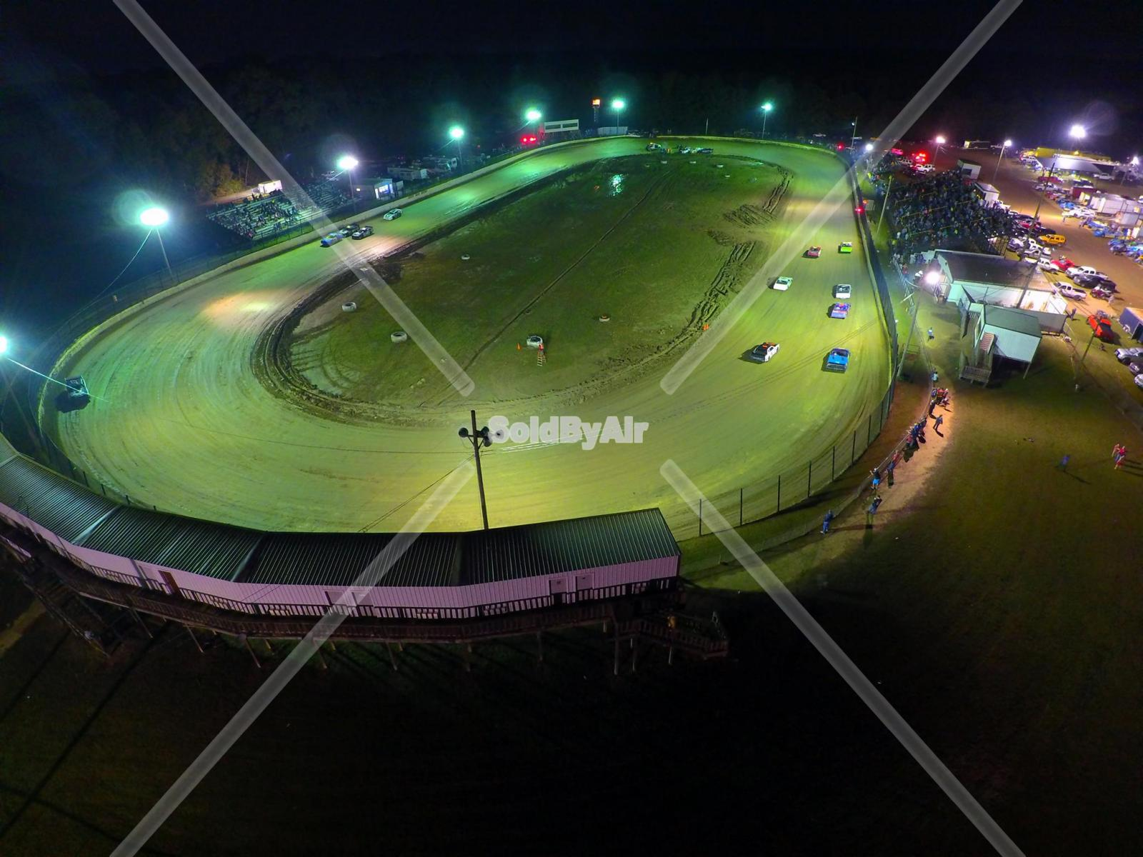 Drone Photo of Racetrack at night in Byram Mississippi
