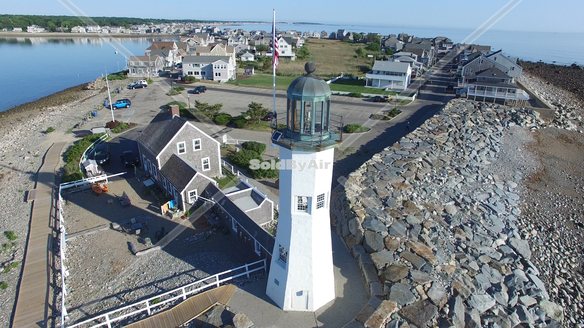 Drone Photo of Scituate Lighthouse looking back at Cedar Point. in Scituate Massachusetts