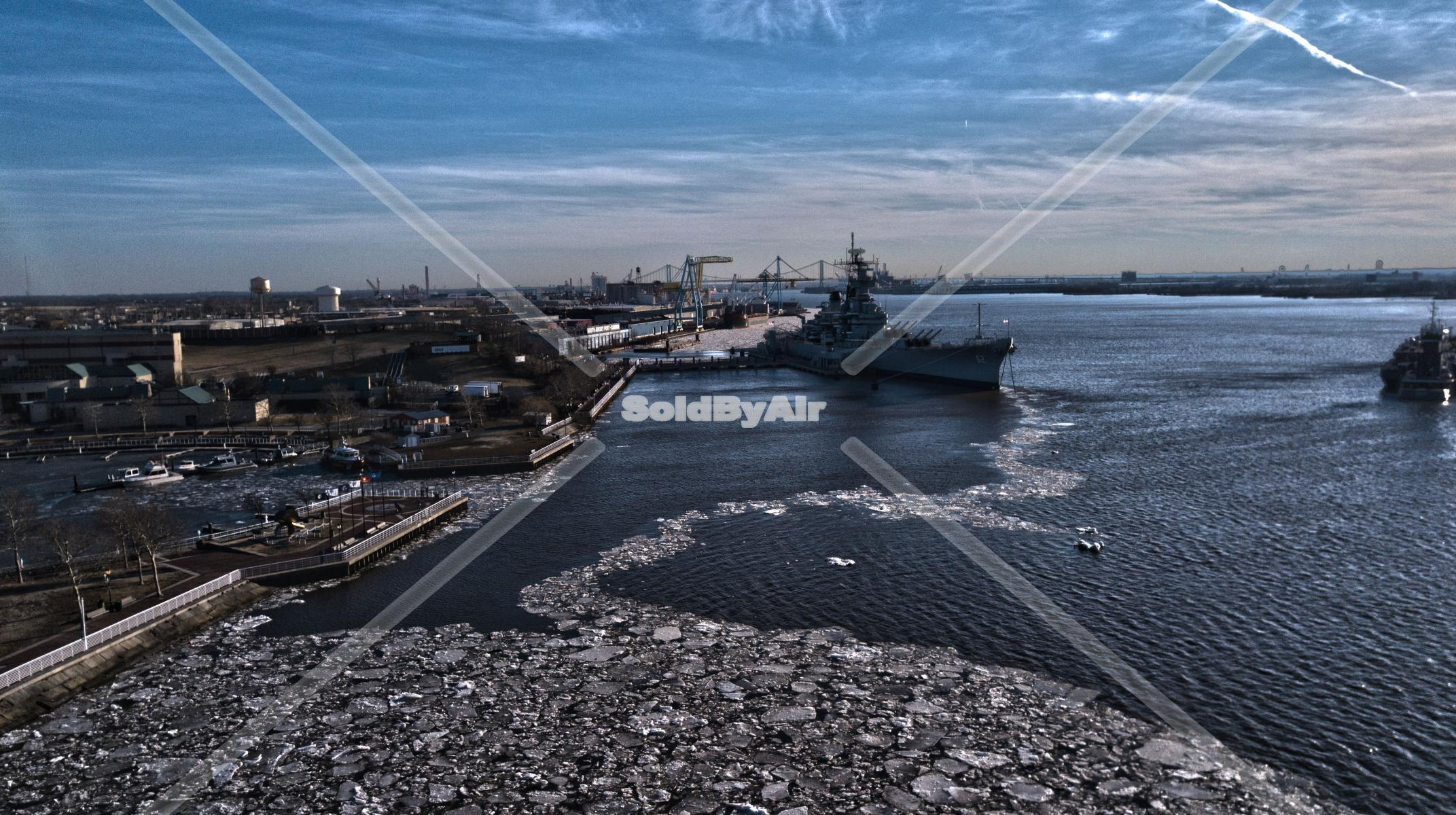 Drone Photo of shot of USS New Jersey on the Delaware River from  in Camden New Jersey