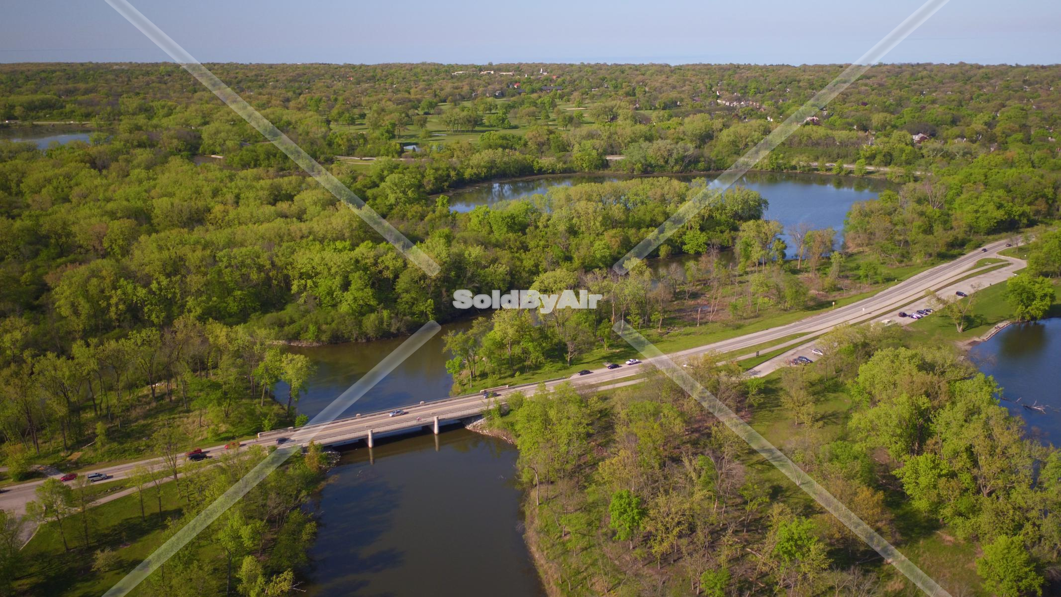 Drone Photo of Skokie Lagoons in Northfield Illinois