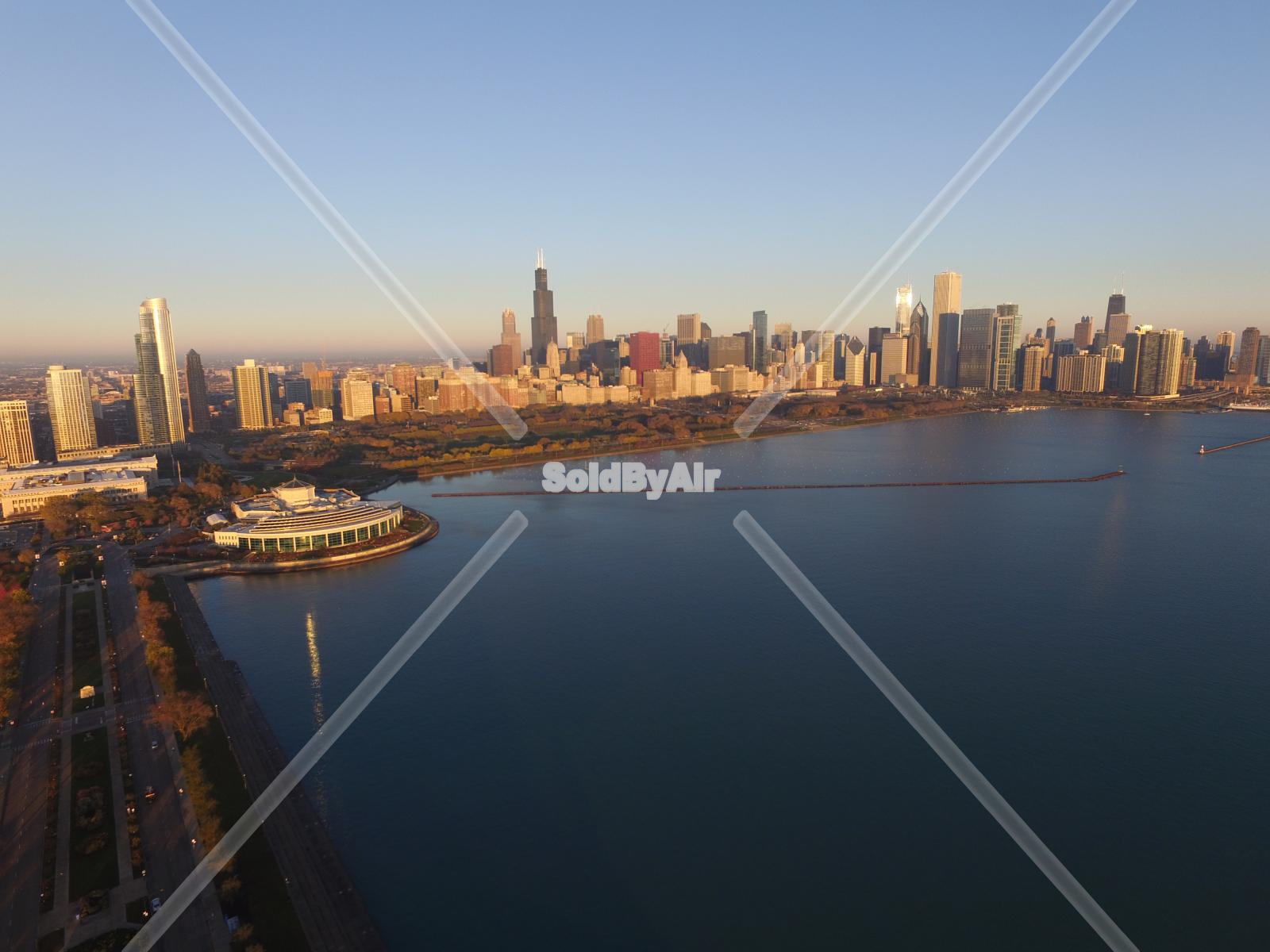 Drone Photo of Skyline from over Lake Michigan with museum in Chicago Illinois