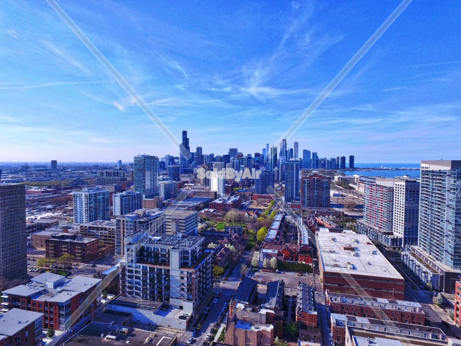 Drone Photo of Skyline from South Loop vantage point. in Chicago Illinois