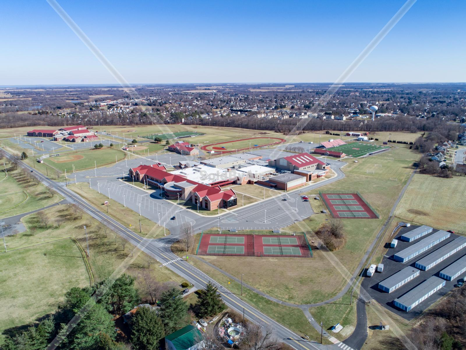 Drone Photo of Smyrna High & Middle School in Smyrna Delaware