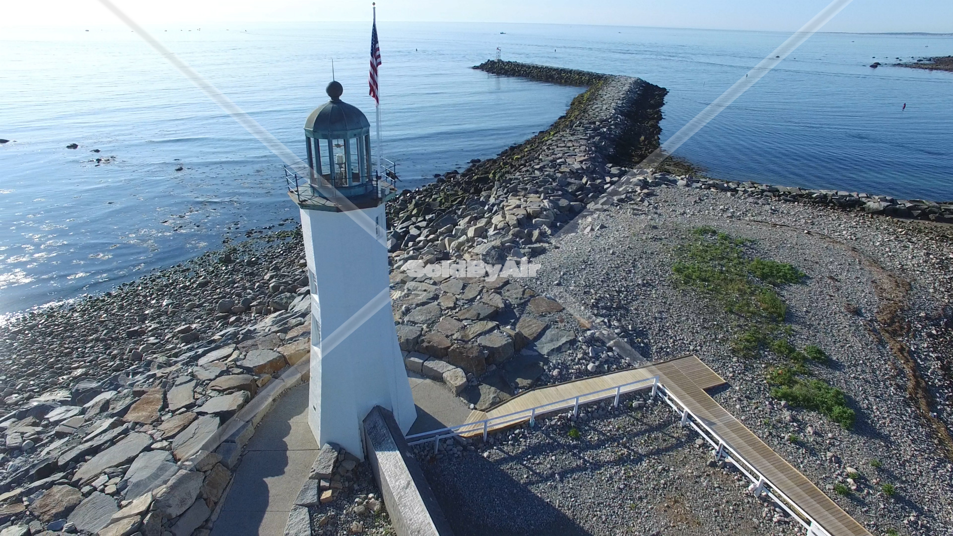 Drone Photo of Sunrise at Scituate Lighthouse in Scituate Massachusetts