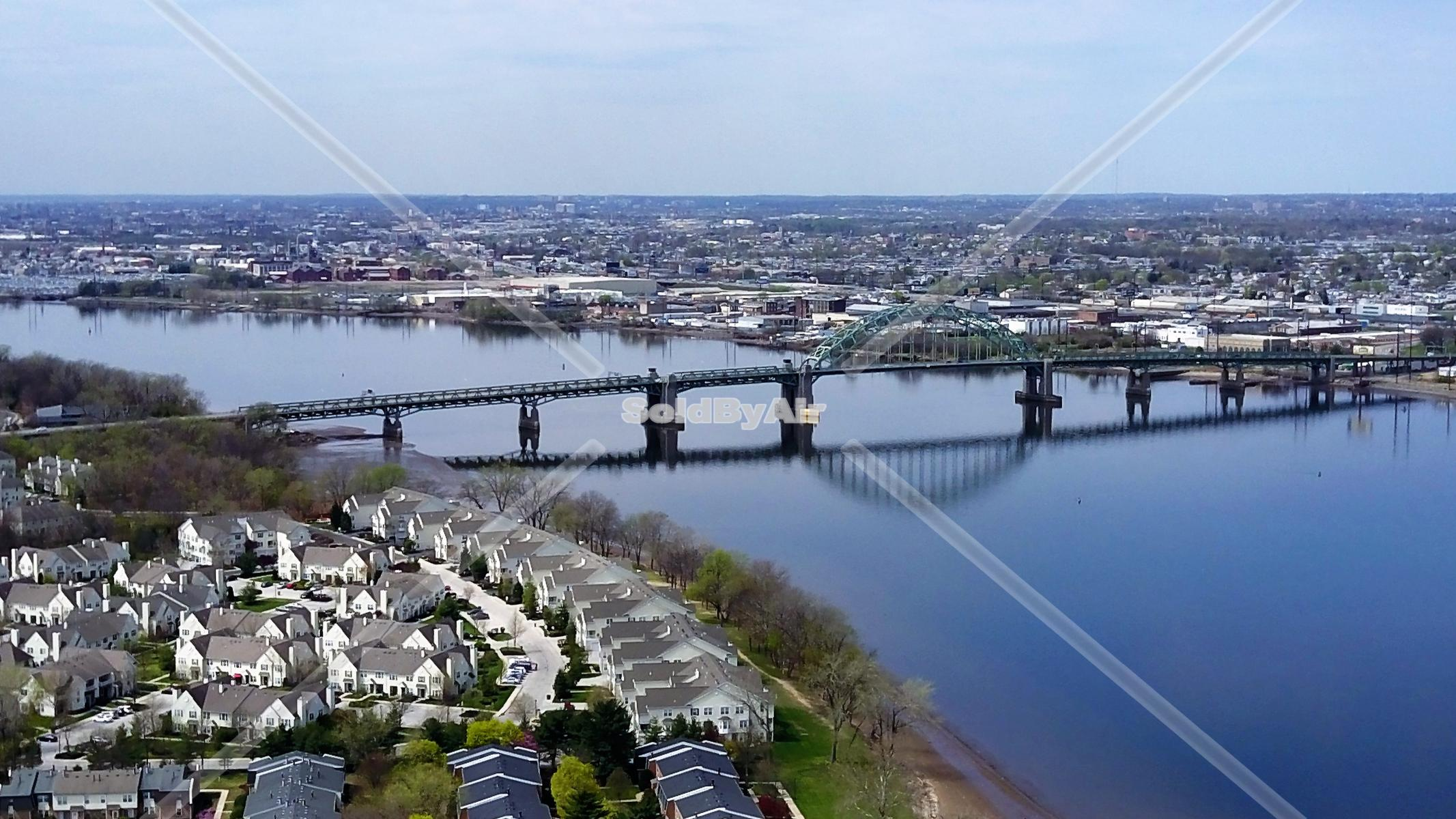 Drone Photo of Tacony Palmyra Bridge over the Delaware River  in Palmyra New Jersey
