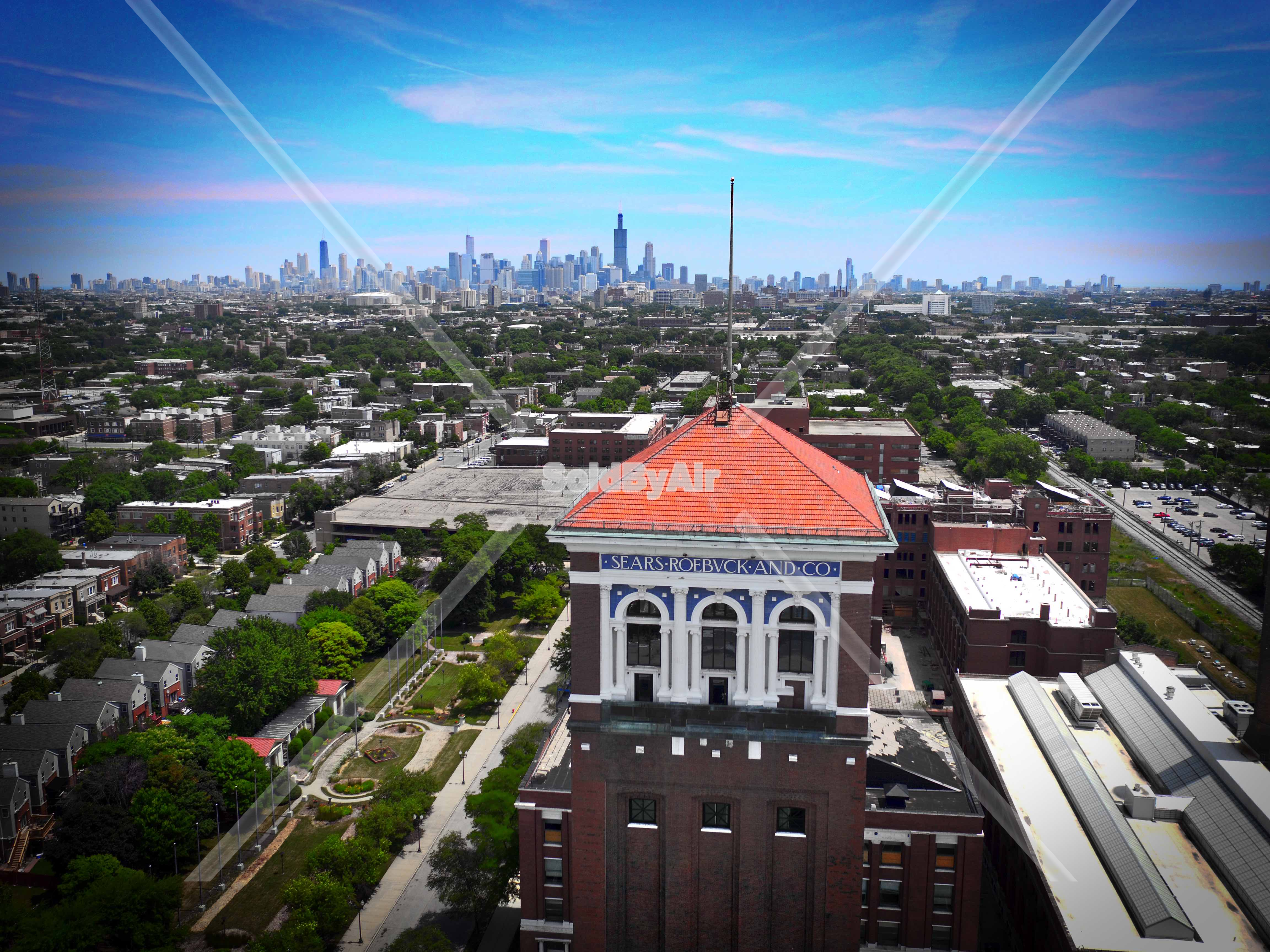 Drone Photo of The original Sears Tower on southwest side in Chicago Illinois