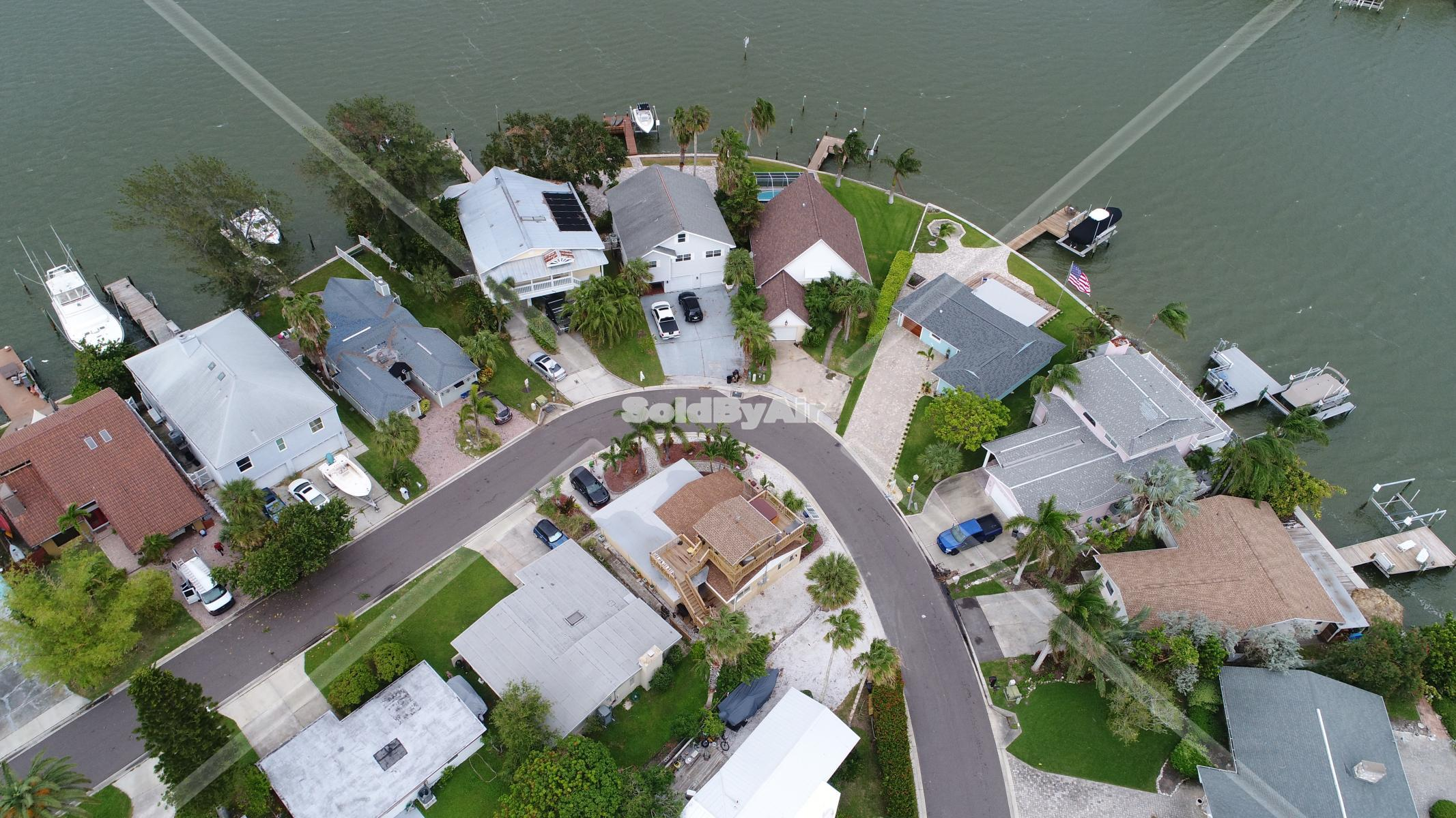 Drone Photo of to show location of home at end of street w/deck in Redington Shores Florida