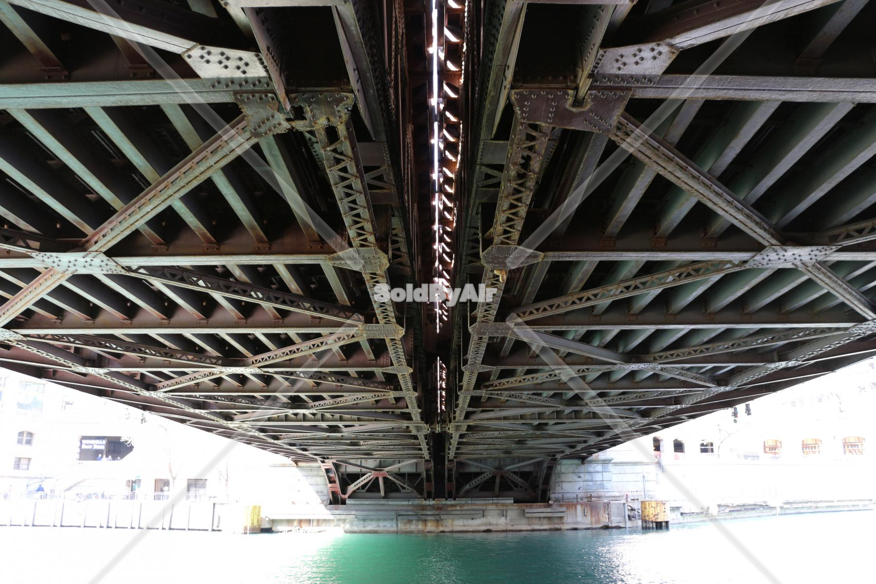 Drone Photo of Underside of bridge on Chicago River in Chicago Illinois