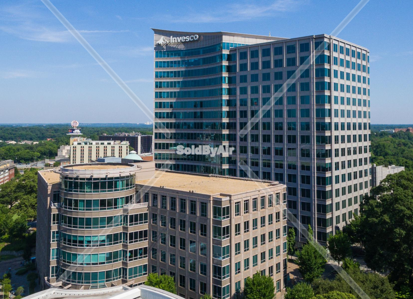 Drone Photo of Uptown Atlanta Invseco Building  in Atlanta Georgia