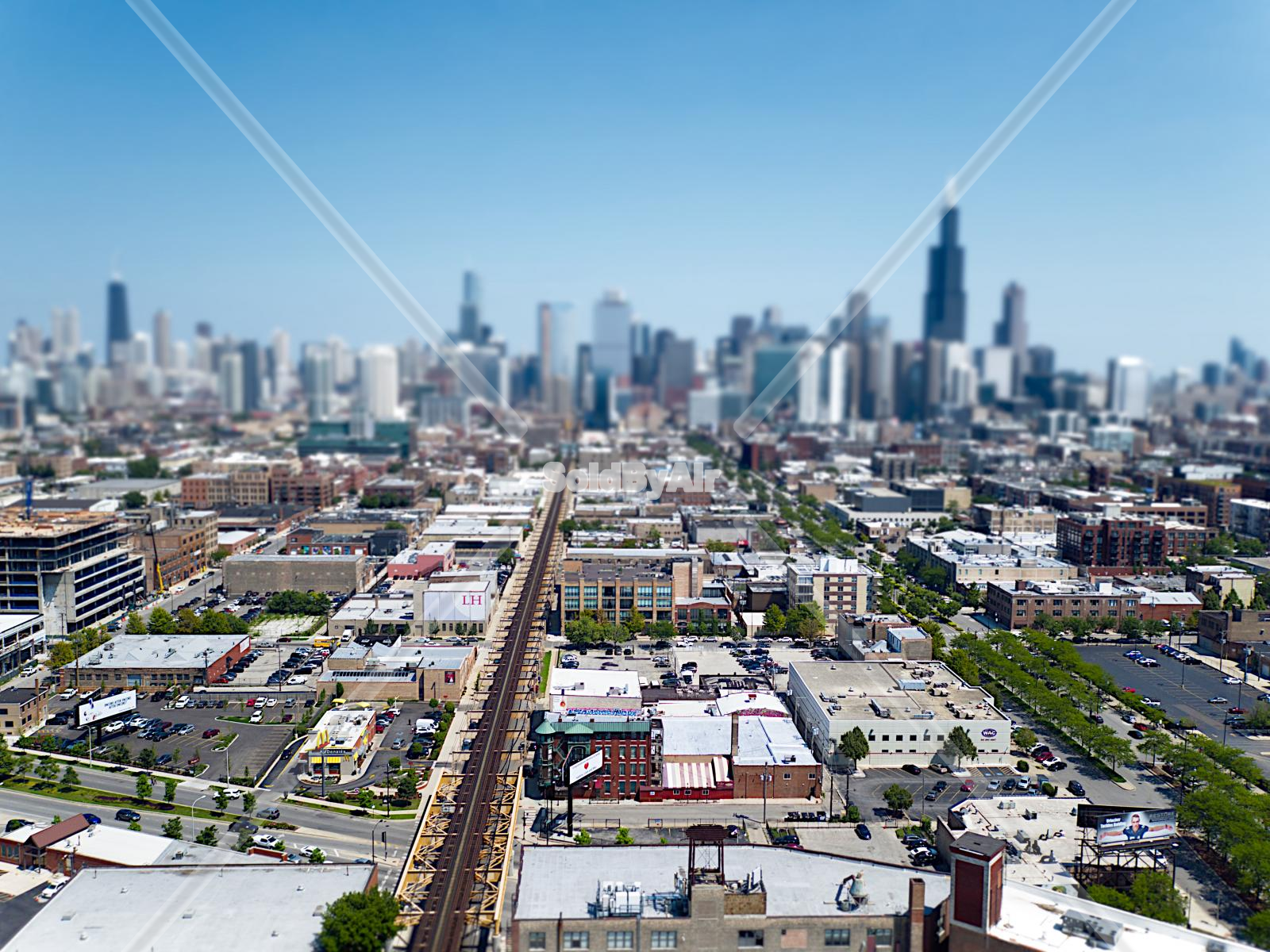 Drone Photo of View from above Fulton Market in Chicago Illinois