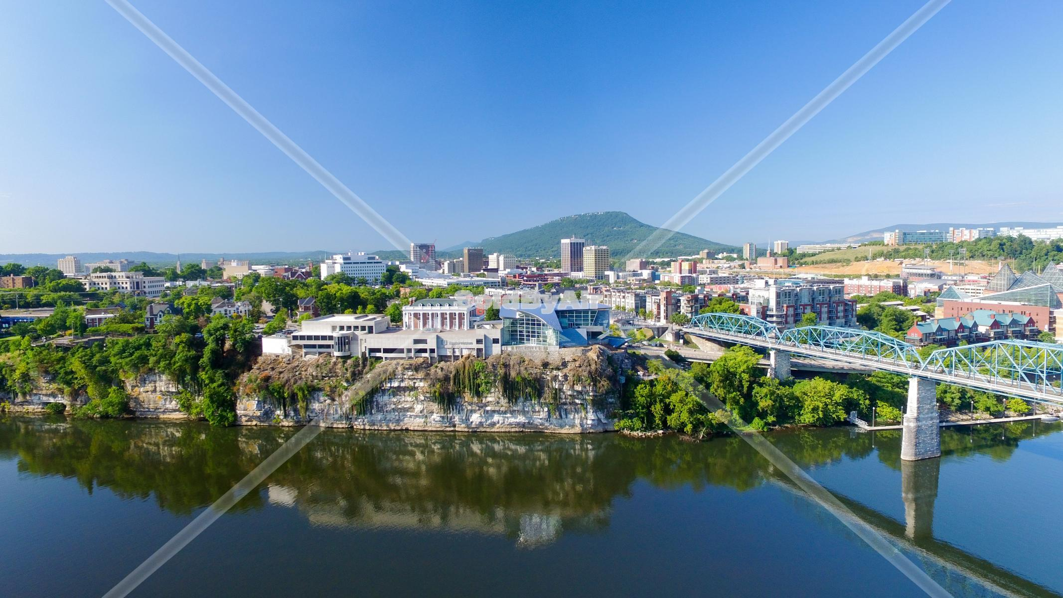 Drone Photo of View of downtown Chattanooga from Tennessee River. in Chattanooga Tennessee