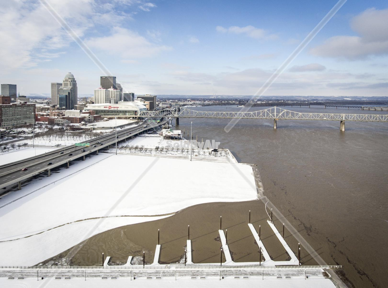 Drone Photo of Waterfront covered in snow in Louisville Kentucky