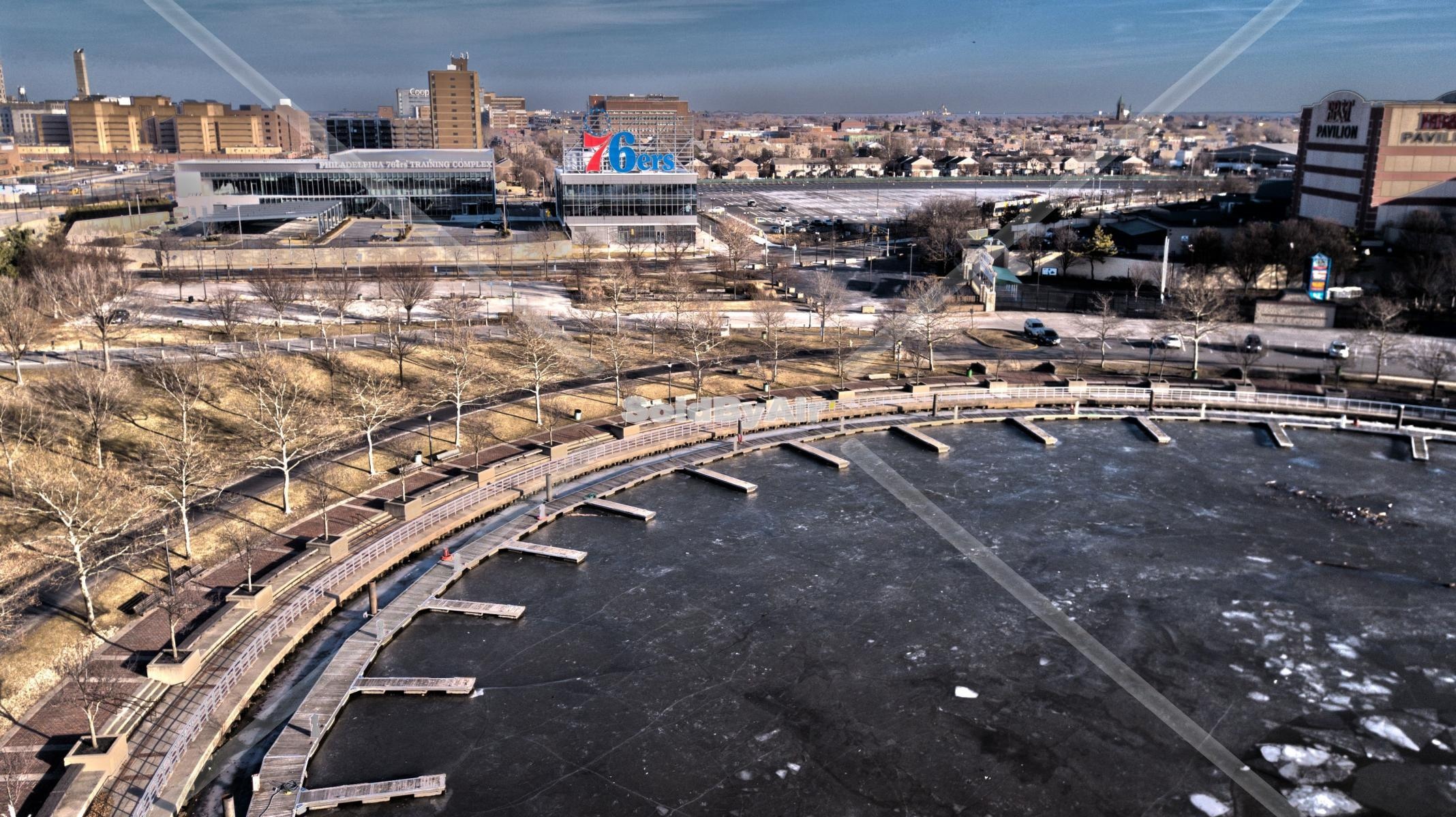 Drone Photo of Wiggins Marina in the winter in Camden New Jersey