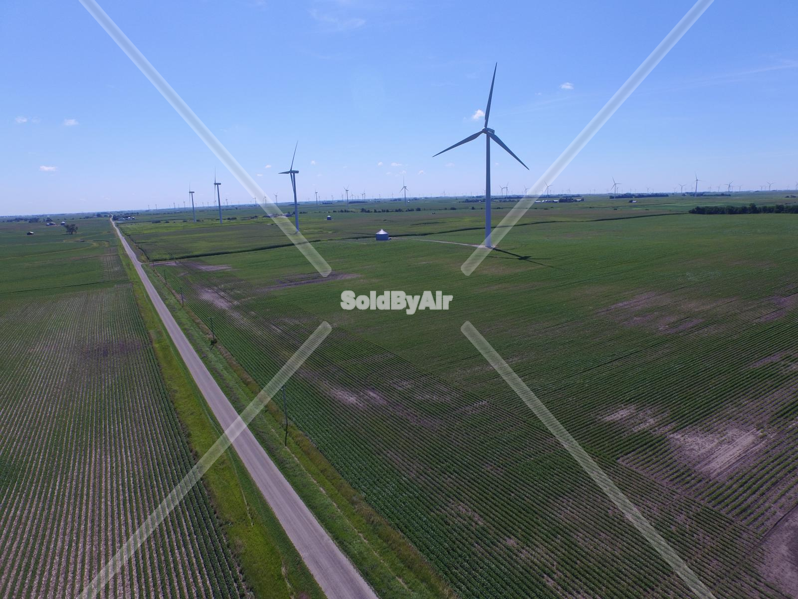 Drone Photo of Wind turbines adjacent to Route 66 in Dwight Illinois
