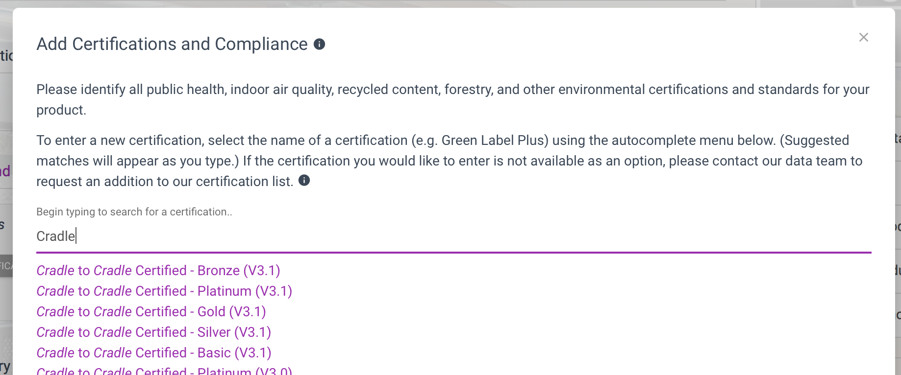 12d78b5e55c3 If you do not see your certification available, it may not yet be entered  in our certifications library. To request a new health or environmental ...