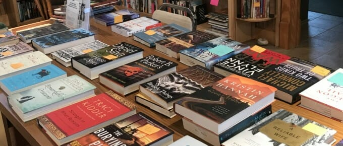 Books laid out on a library table