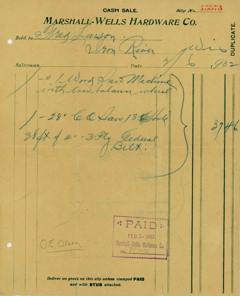 1902 Receipt for Sawmill parts