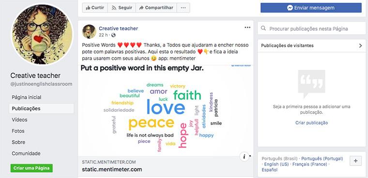 Reprodução de post da página Creative Teacher em que Sara agradece sugestões de palavras positivas como love e peace enviadas por leitores