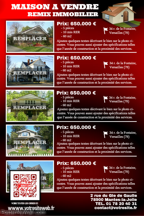 Flyer immobilier – Pour 5 biens immo – Rouge