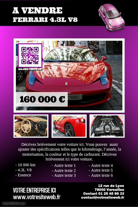 id e d 39 affiche pour une voiture vendre mod les d 39 affiches flyers. Black Bedroom Furniture Sets. Home Design Ideas