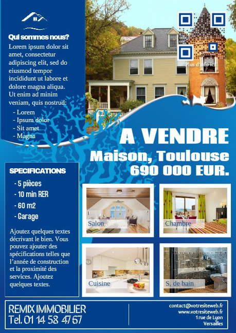 Flyer immo elegant – Version bleu