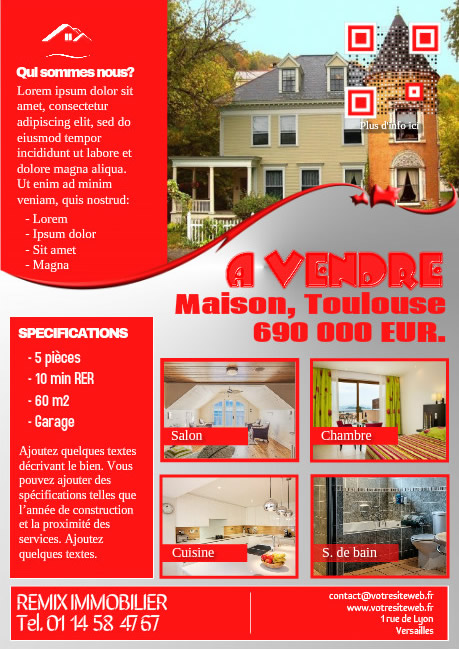 Flyer immo design – Version rouge