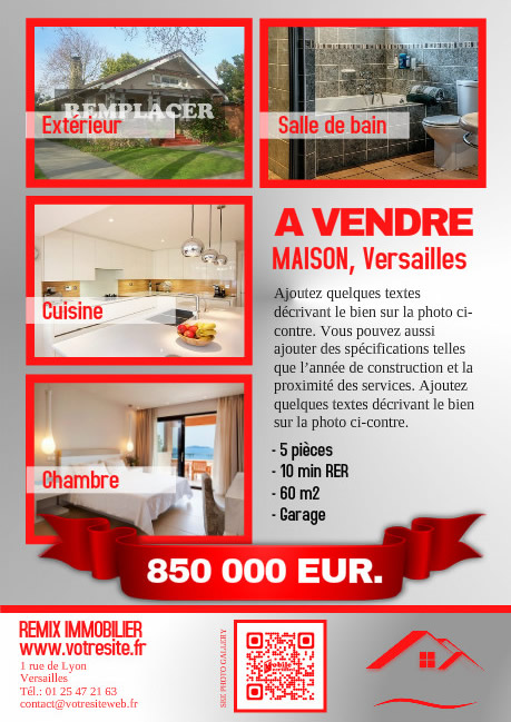Flyer pour agence immo orpi et remax for Agence immobiliere pour location maison