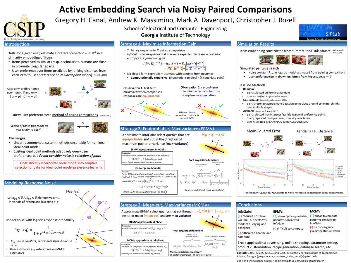 Poster: Active Embedding Search via Noisy Paired Comparisons