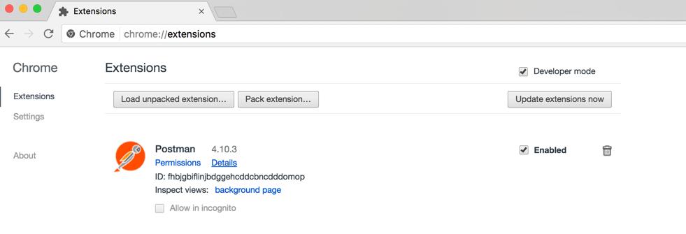 Chrome developer mode