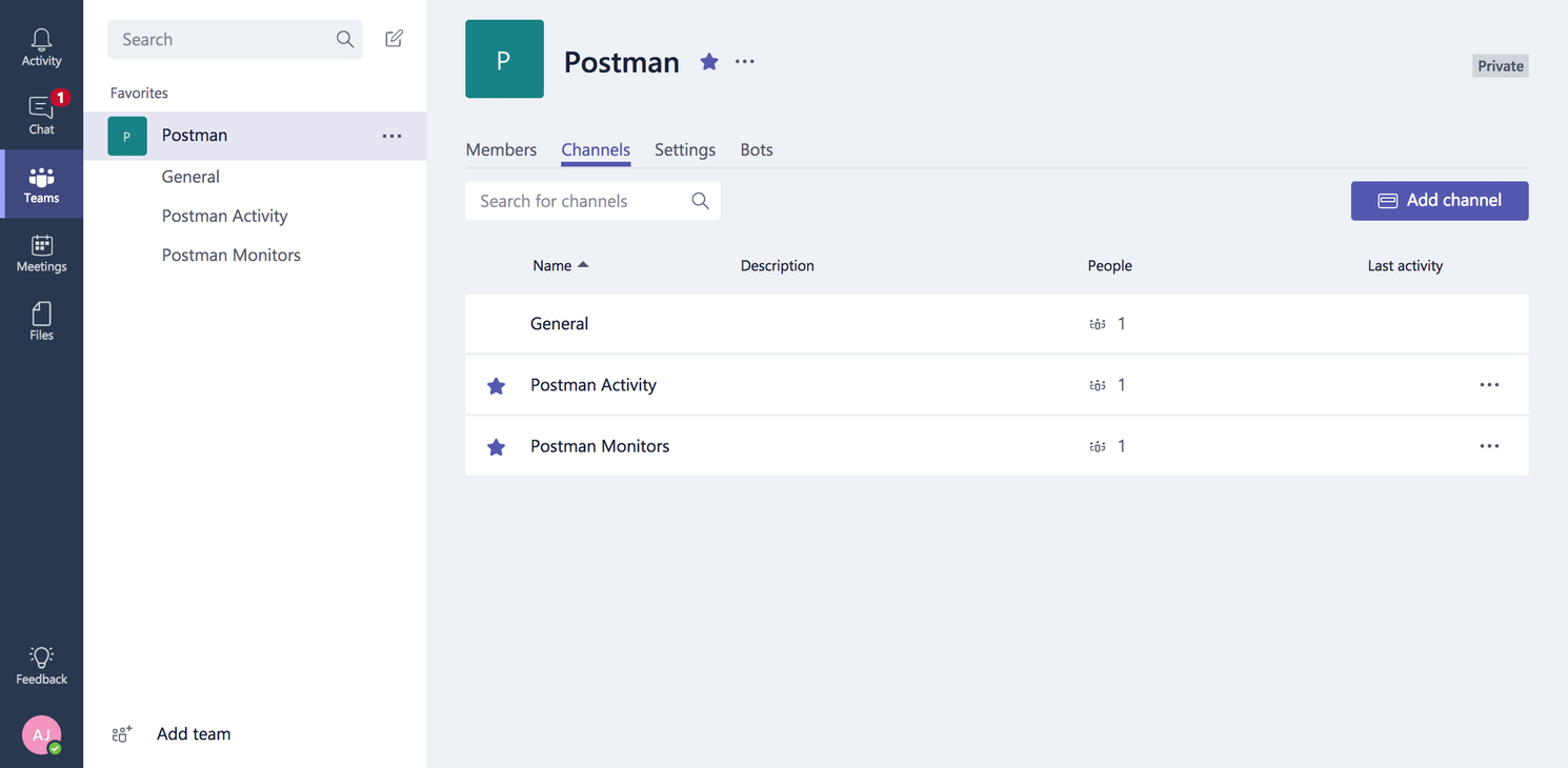 Microsoft Teams | Postman Learning Center
