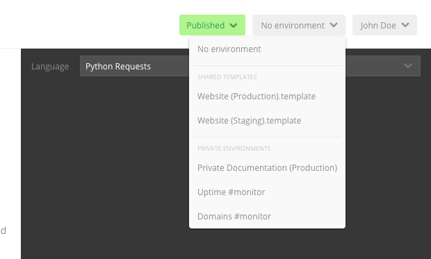 environments dropdown for private viewing