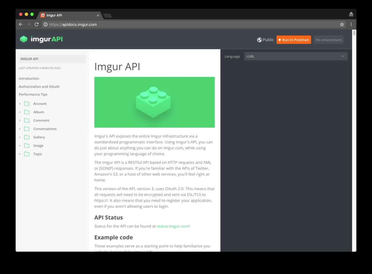 Imgur API docs