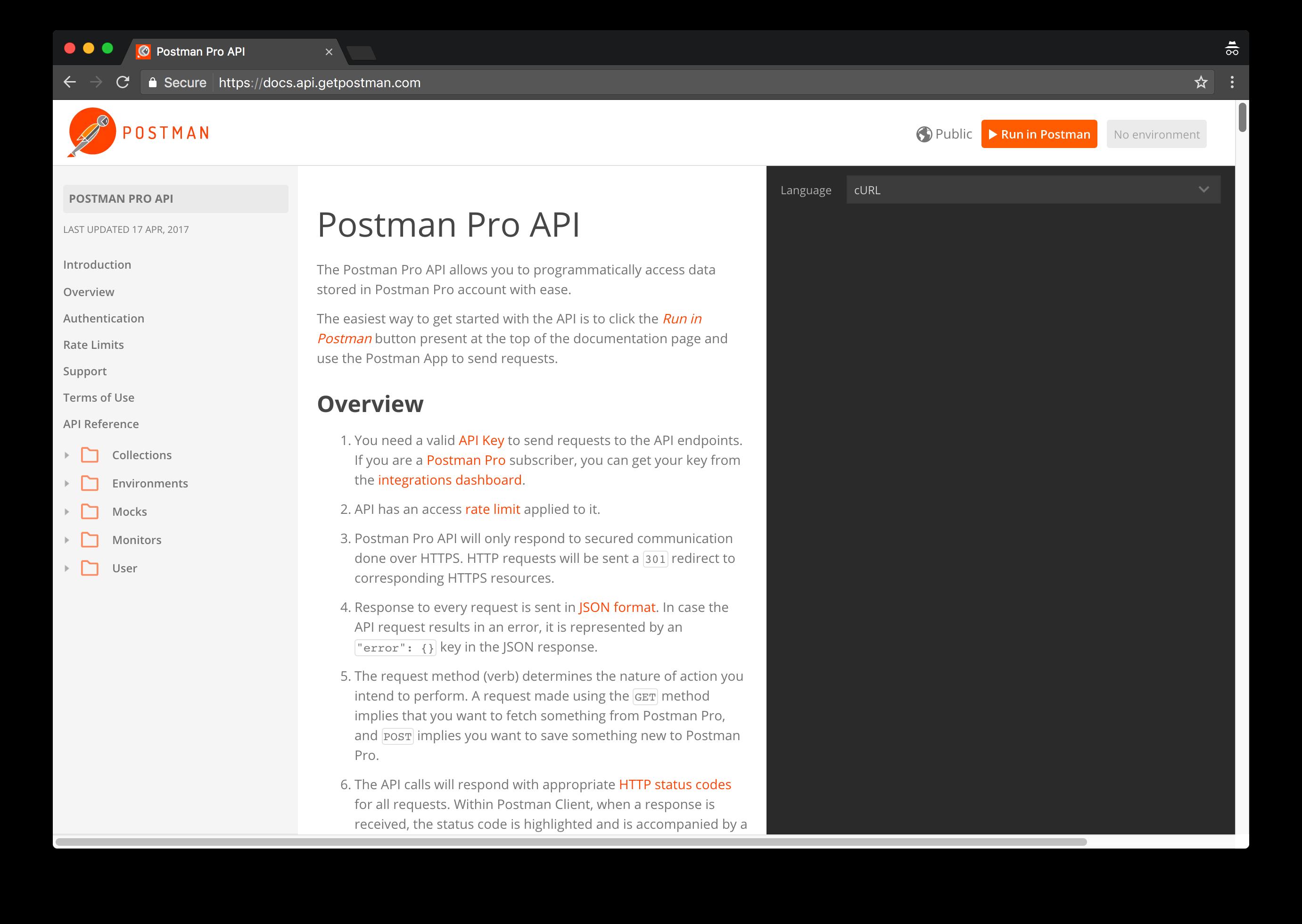 postman API docs