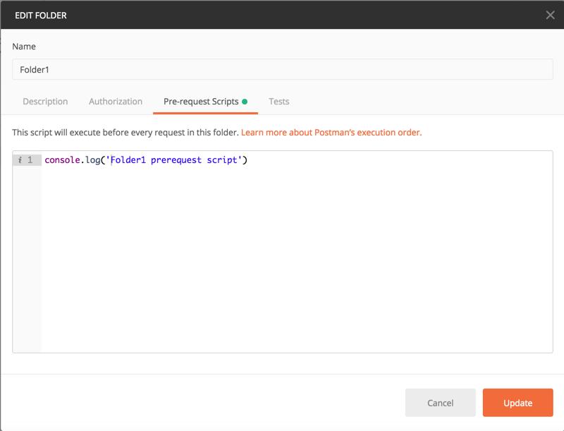 pre-request script for folder