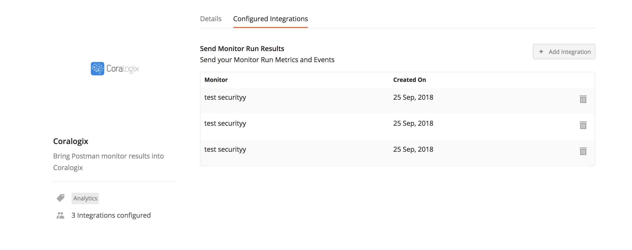 coralogix add integrations